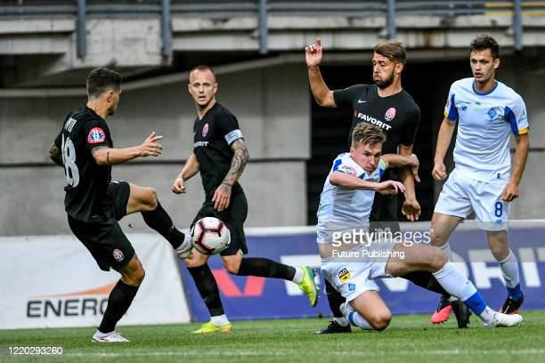Players of FC Zorya Luhansk and FC Dynamo Kyiv are seen in action during a Ukrainian Premier League Matchday 26 game at the Slavutych Arena,...