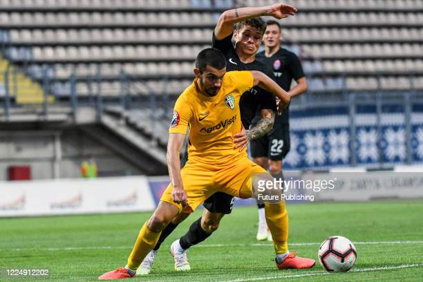Players of FC Zorya Luhansk and FC Oleksandriia are seen in action during the Ukrainian Premier League Matchday 29 game at the Slavutych Arena,...
