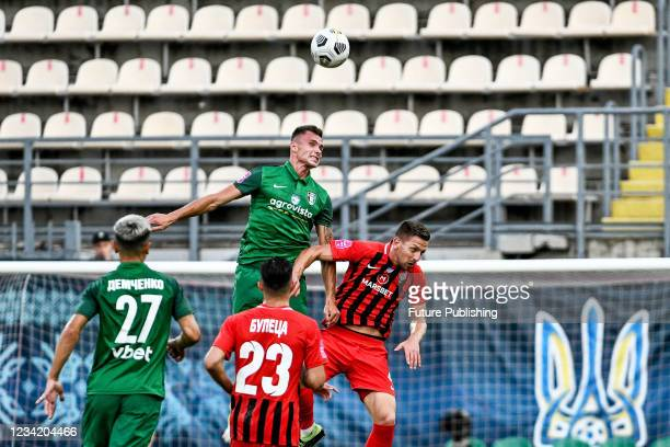 Players of FC Zorya Luhansk and FC Oleksandriia are seen in action during the 2021/2022 Ukrainian Premier League Matchday 1 game at the Slavutych...