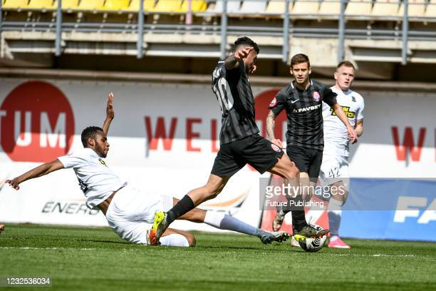 Players of FC Zorya Luhansk and FC Olimpik Donetsk are seen in action during the Ukrainian Premier League Matchday 23 game at the Slavutych Arena,...
