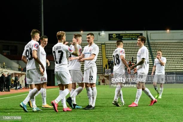 ZAPORIZHZHIA UKRAINE Players of FC Zorya Luhansk celebrate upon scoring during the Ukrainian Premier League Matchday 21 game against PFC Lviv in...