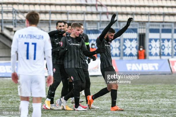 Players of FC Zorya Luhansk react to scoring during the Ukrainian Premier League Matchday 14 game against FC Desna Chernihiv at the Slavutych Arena,...