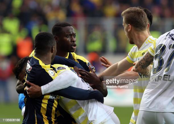Players of Fenerbahce and MKE Ankaragucu quarreling during Turkish Super Lig soccer match between MKE Ankaragucu and Fenerbahce at Eryaman Stadium in...