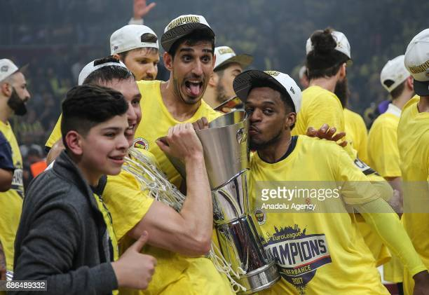 Players of Fenerbahce celebrate their victory as they received the cup in Turkish Airlines Euroleague Final Four championship after the final match...