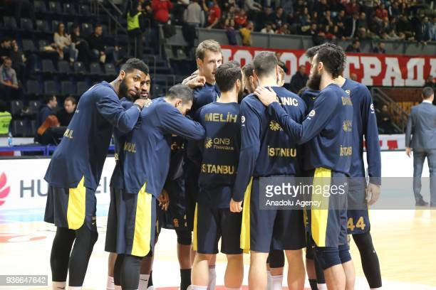 Players of Fenerbahce Dogus are seen during the Turkish Airlines Euroleague week 28 basketball match between KK Crvena Zvezda and Fenerbahce Dogus at...
