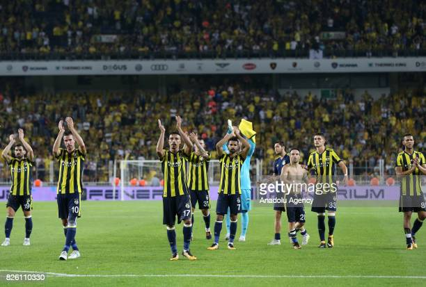 Players of Fenerbahce greet fans after the UEFA Europa League third qualifying round 2nd leg match between Fenerbahce and Sturm Graz at Ulker Stadium...