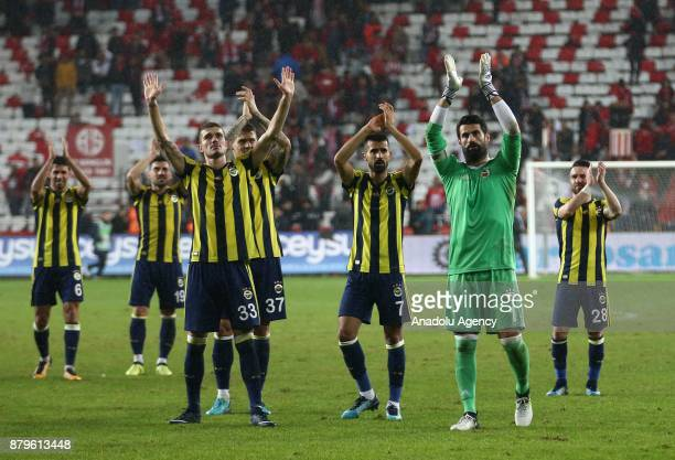 Players of Fenerbahce greet their fans after the Turkish Super Lig match between Antalyaspor and Fenerbahce at Antalya Stadium in Antalya Turkey on...