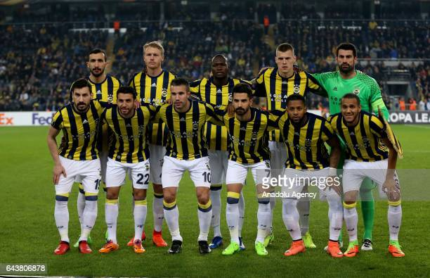 Players of Fenerbahce pose for a photo prior to UEFA Europa League soccer match between Fenerbahce and Krasnodar at Ulker Stadium in Istanbul Turkey...