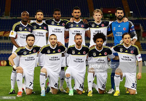 Players of Fenerbahce SK pose during the UEFA Europa League quarter final match second leg between SS Lazio and Fenerbahce SK at Stadio Olimpico on...
