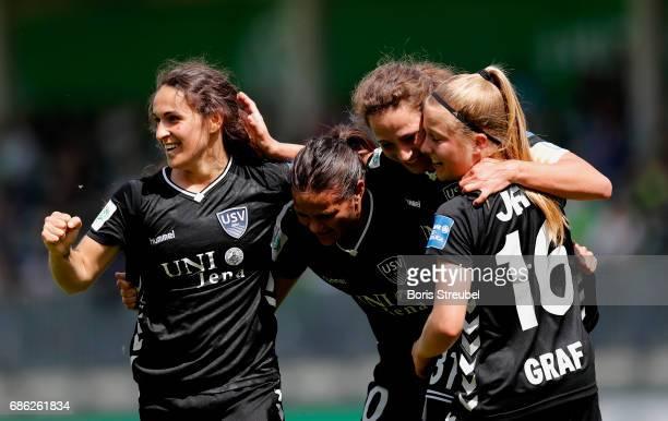 Players of FF USV Jena celebrate after Julia Arnold of FF USV Jena scores her team's first goal during the Allianz Women's Bundesliga match between...