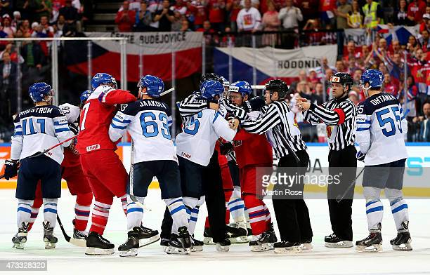 Players of Finland and of Czech Republic fight during the IIHF World Championship quarter final match between Finland and Czech Republic at O2 Arena...