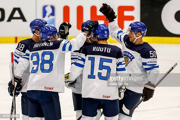 Players of Finland celebrate their goal during the IIHF World Championship group B match between Finland and Slovenia at CEZ Arena on May 7 2015 in...