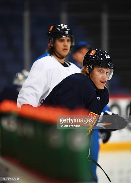 Players of Finland look on during practice for Team Finland at the Hartwell Areena on September 7 2016 in Helsinki Finland