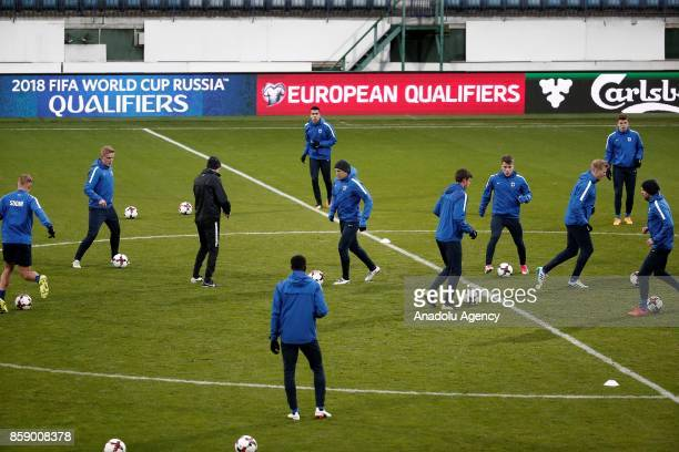 Players of Finland national team attend a training session ahead of 2018 FIFA World Cup European Qualification Group I match between Finland and...
