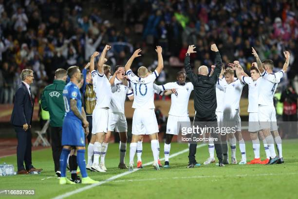 Players of Finland National team celebrate a score during the Italy versus Finland UEFA EURO 2020 Qualifiying match on September 8 at Tampere Ratina...