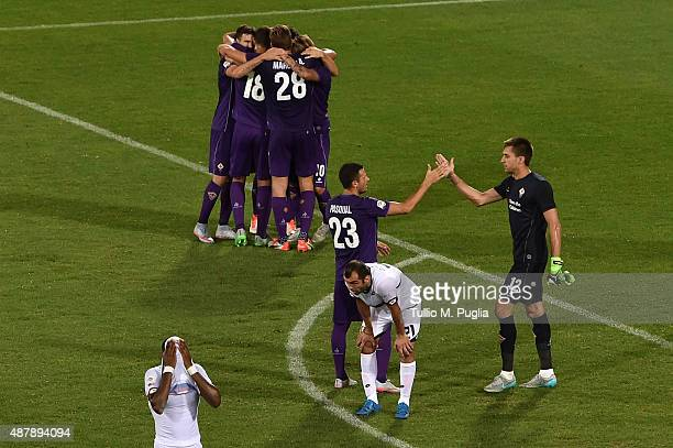 Players of Fiorentina celebrate after winning the Serie A match between ACF Fiorentina and Genoa CFC at Stadio Artemio Franchi on September 12 2015...