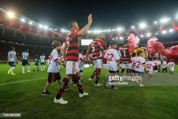 Players of Flamengo and Palmeiras enter the field before a match between Flamengo and Palmeiras as part of Brasileirao Series A 2018 at Maracana...