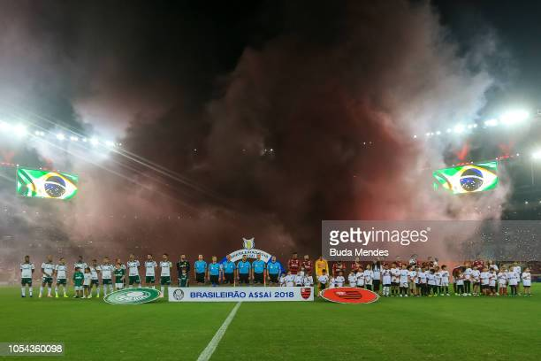 Players of Flamengo and Palmeiras enter to the field before a match between Flamengo and Palmeiras as part of Brasileirao Series A 2018 at Maracana...
