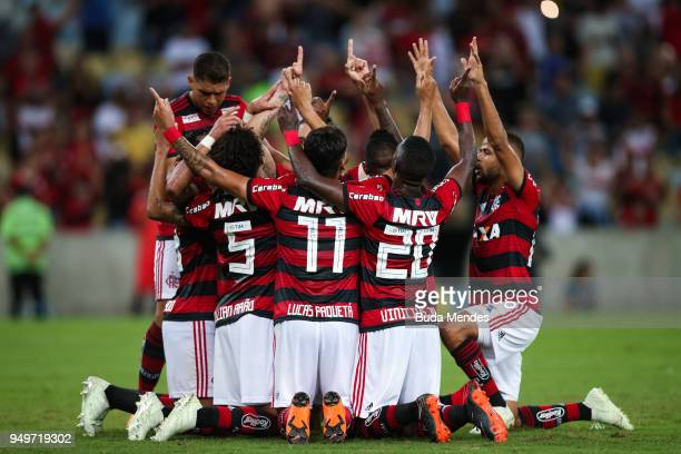 Players of Flamengo celebrate a scored goal against America MG during a match between Flamengo and America MG as part of Brasileirao Series A 2018 at...