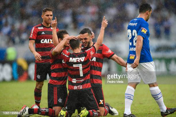 Players of Flamengo celebrates a scored goal against Cruzeiro during a match between Cruzeiro and Flamengo as part of Brasileirao Series A 2018 at...