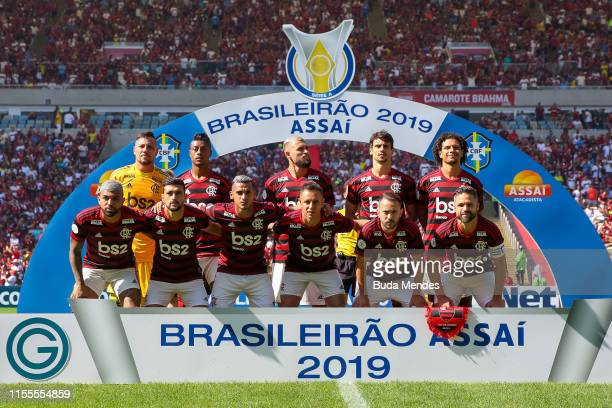 Players of Flamengo pose for photographers before a match between Flamengo and Goias as part of Brasileirao Series A 2019 at Maracana Stadium on July...