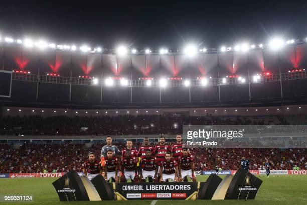 Players of Flamengo pose for photographers during a Group Stage match between Flamengo and Emelec as part of Copa CONMEBOL Libertadores 2018 at...