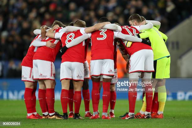 Players of Fleetwood Town have a team huddle during The Emirates FA Cup Third Round Replay match between Leicester City and Fleetwood Town at The...