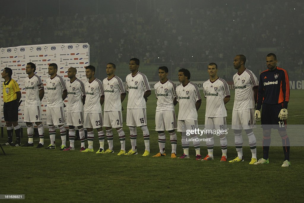 Players of Fluminense before a game between Fluminense FC and Caracas as part of the Copa Bridgestone Libertadores 2013 at the Olympic Stadium on February 13, 2013 in Caracas, Venezuela.