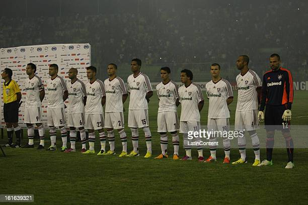 Players of Fluminense before a game between Fluminense FC and Caracas as part of the Copa Bridgestone Libertadores 2013 at the Olympic Stadium on...