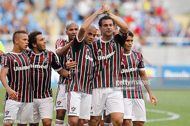 Players of Fluminense celebrate a goal during the match between Fluminense and Vasco da Gama as part of Campeonato Carioca 2013 at Engenhão Stadium...