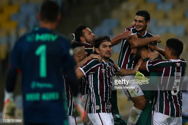 Players of Fluminense celebrate after defeating Flamengo as part of the Taca Rio the Second Leg of the Carioca State Championship at Maracana Stadium...
