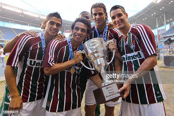Players of Fluminense celebrate the title againist Vasco during the final match Fluminense v Vasco as part of Rio State Championship 2012 at Engenhao...