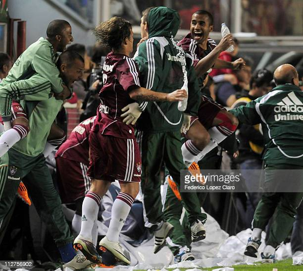 Players of Fluminense celebrates a goal againts Argentinos Jr in a match for the Santander Libertadores Cup 2011 in Diego Armando Maradona Stadium on...