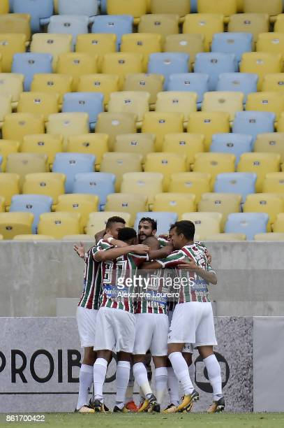 Players of Fluminense celebrates a scored goal by Henrique Dourado during the match between Fluminense and Avai as part of Brasileirao Series A 2017...