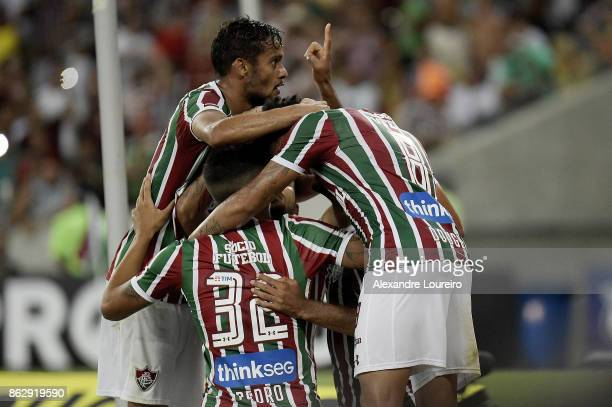 Players of Fluminense celebrates a scored goal by Robinho during the match between Fluminense and Sao Paulo as part of Brasileirao Series A 2017 at...