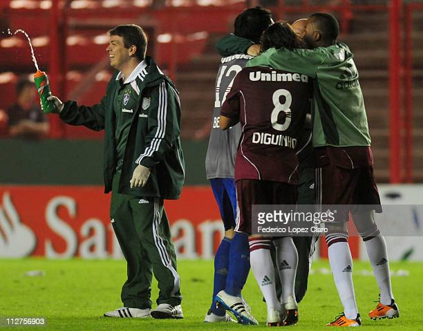 Players of Fluminense celebrats the move to the next round in a match for the Santander Libertadores Cup 2011 in Diego Armando Maradona Stadium on...