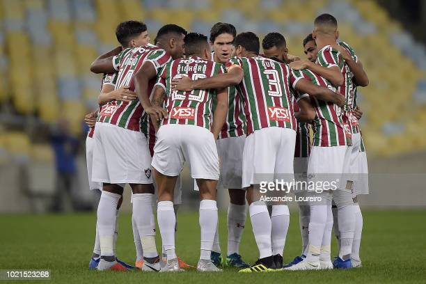 Players of Fluminense get together before the match between Fluminense and Corinthians as part of Brasileirao Series A 2018 at Maracana Stadium on...