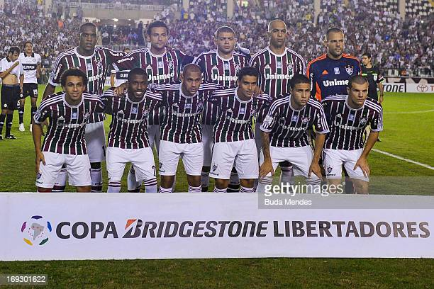 Players of Fluminense pose before a match between Fluminense and Olimpia as part of the Copa Bridgestone Libertadores 2013 at Sao Januario Stadium on...
