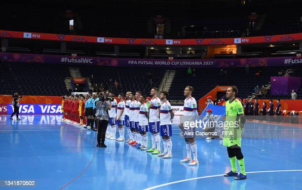 Players of Football Union of Russia and Vietnam line up ahead of the FIFA Futsal World Cup 2021 Round of 16 match between Football Union of Russia...