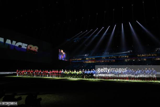 Players of France 98 and FIFA 98 pose during the Friendly match between France 98 and FIFA 98 at U Arena on June 12 2018 in Nanterre near Paris France