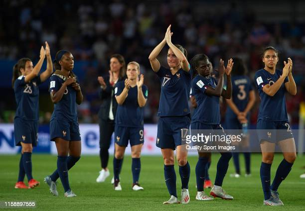 Players of France after the 2019 FIFA Women's World Cup France Quarter Final match between France and USA at Parc des Princes on June 28, 2019 in...