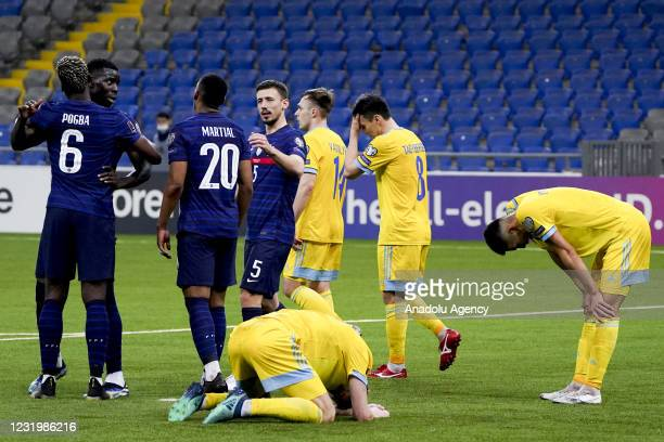 Players of France celebrate after scoring a goal during the FIFA World Cup Qatar 2022 qualification Group D match between Kazakhstan and France, in...
