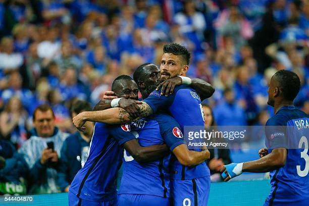 Players of France celebrate after scoring a goal during the UEFA Euro 2016 quarter final match between France and Iceland at Stade de France in Saint...