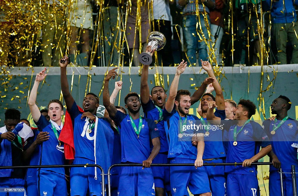 Players of France celebrate after winning the Final during the UEFA Under19 European Championship Final match between U19 France and U19 Italy at Wirsol Rhein-Neckar-Arena on July 24, 2016 in Sinsheim, Germany.