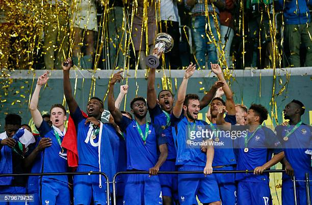 Players of France celebrate after winning the Final during the UEFA Under19 European Championship Final match between U19 France and U19 Italy at...