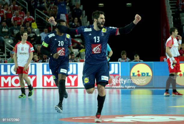 Players of France celebrate after winning the match at the end of the 2018 EHF European Men's Handball Championship third place match between France...