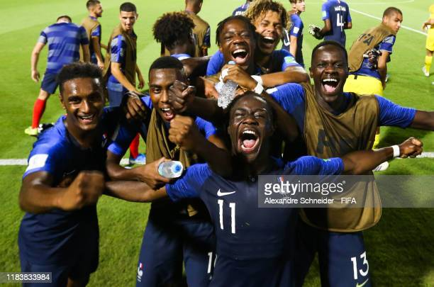 Players of France celebrate after winning their first match against Chile for FIFA U17 World Cup Brazil 2019 on October 27 2019 in Goiania Brazil