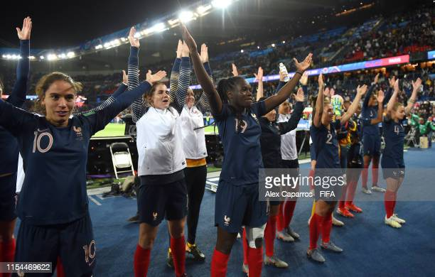 Players of France celebrate following the 2019 FIFA Women's World Cup France group A match between France and Korea Republic at Parc des Princes on...