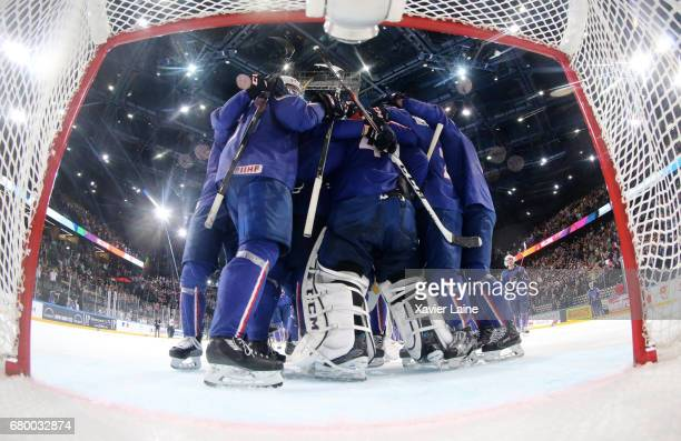 PARIS FRANCE MAY Players of France celebrate the victory after the 2017 IIHF Ice Hockey World Championship game between Finland and France at...