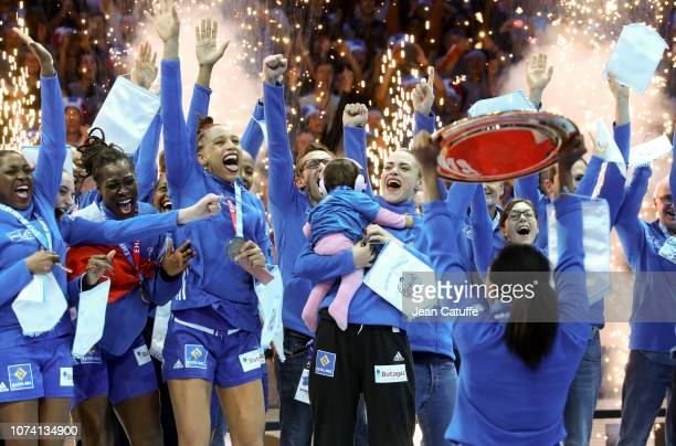 Players of France celebrate the victory during the trophy ceremony following the EHF Women's Euro 2018 Final match between Russia and France at...